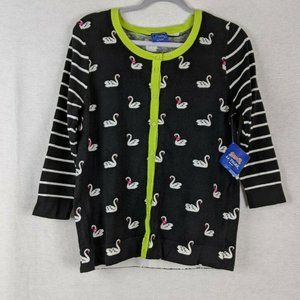 Le Tigre Black White And Green Swan Sweater